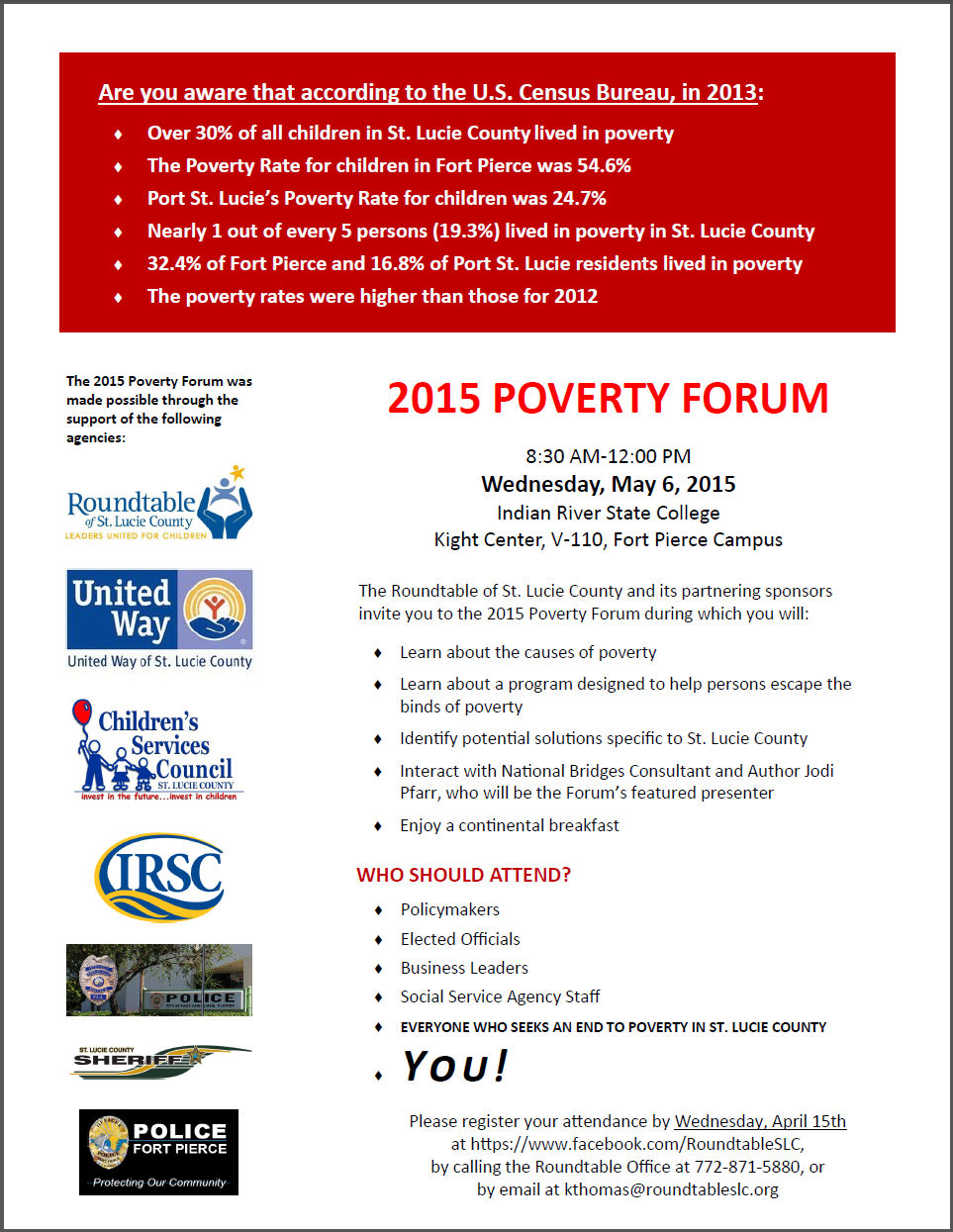 Roundtable of Saint Lucie County - Poverty Forum